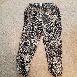 Leopard print woven pants